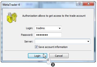 MT4交易平台最终登录界面示例